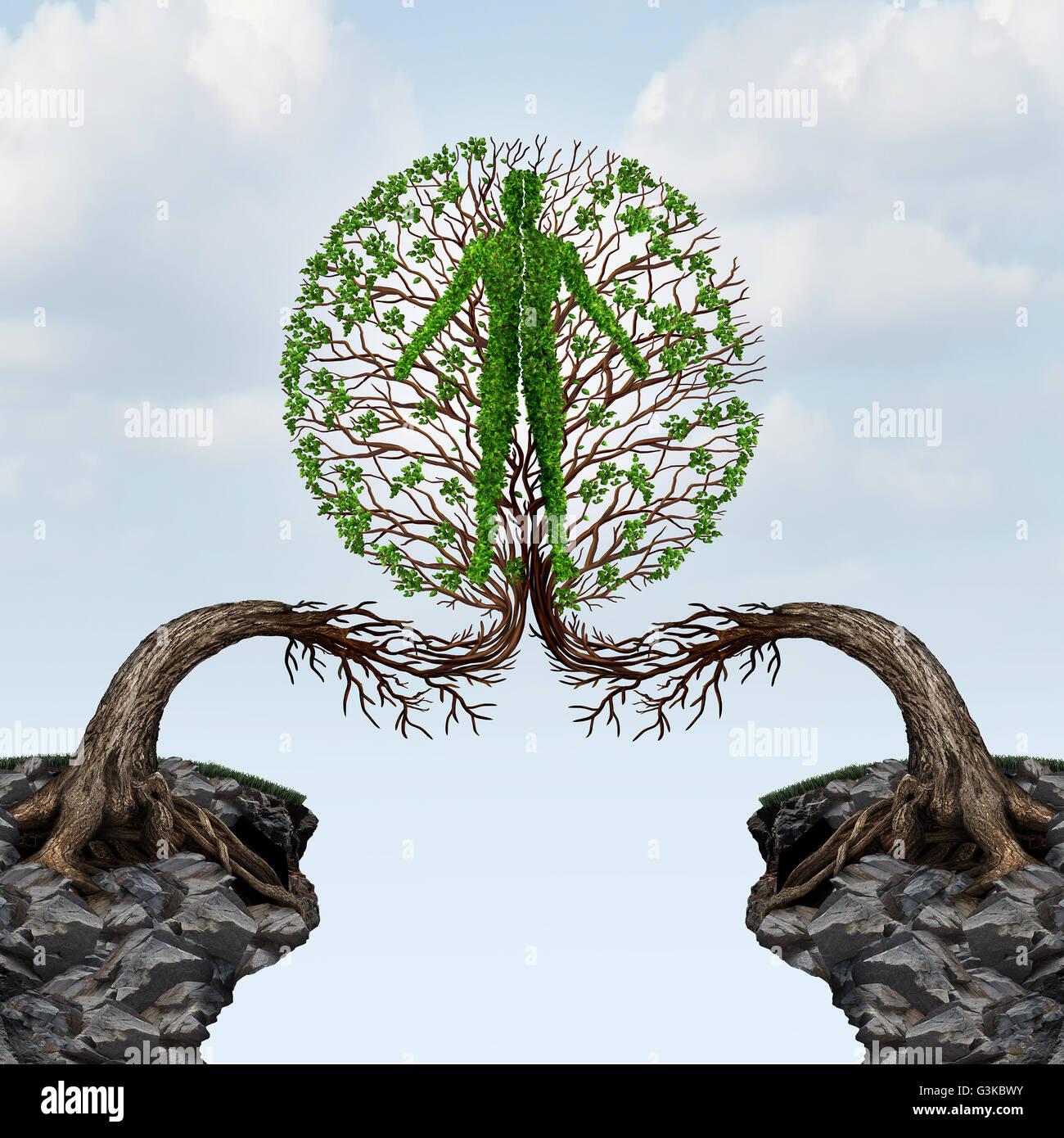 Globale Einheit und internationale Partnerschaftskonzept als zwei Bäume aus zwei Fernen Klippen zusammenfügen Stockbild