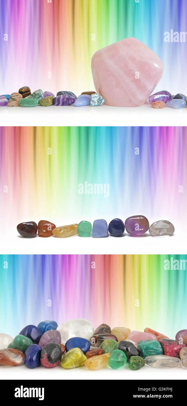 Schloss blended Regenbogen lineare Hintergründe mit drei verschiedenen Kristall-Einstellungen und viel Textfreiraum Stockbild