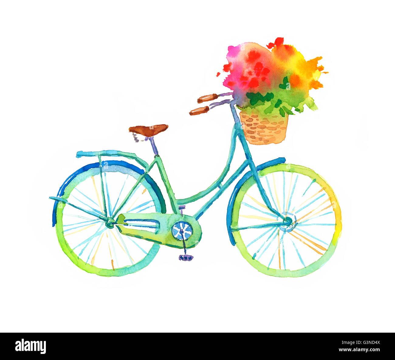 aquarell blau fahrrad mit sch ne blume korb hand gemalt. Black Bedroom Furniture Sets. Home Design Ideas