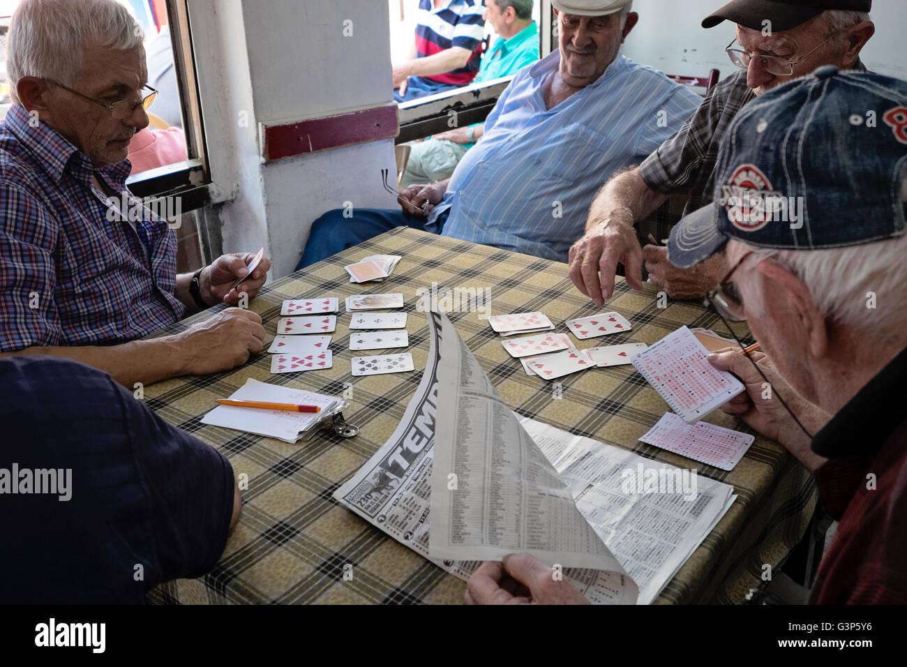 Eine Gruppe von mittleren Alter Männer spielen Karten und überprüfen Sie die Pferderennen Ergebnisse Stockbild