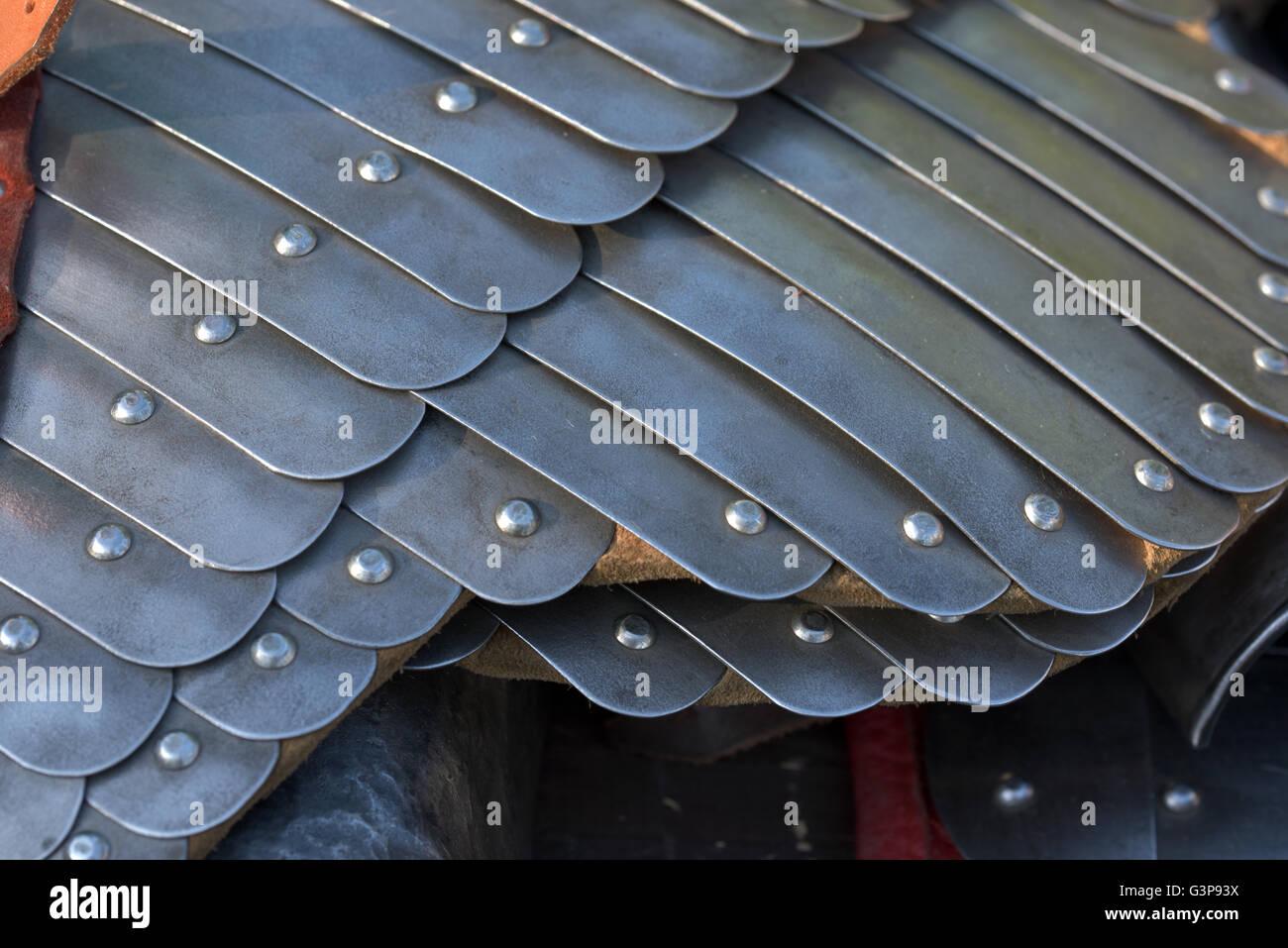 Schutz der alten Krieger - Kettenhemd der metallischen Platten kämpfen Stockbild