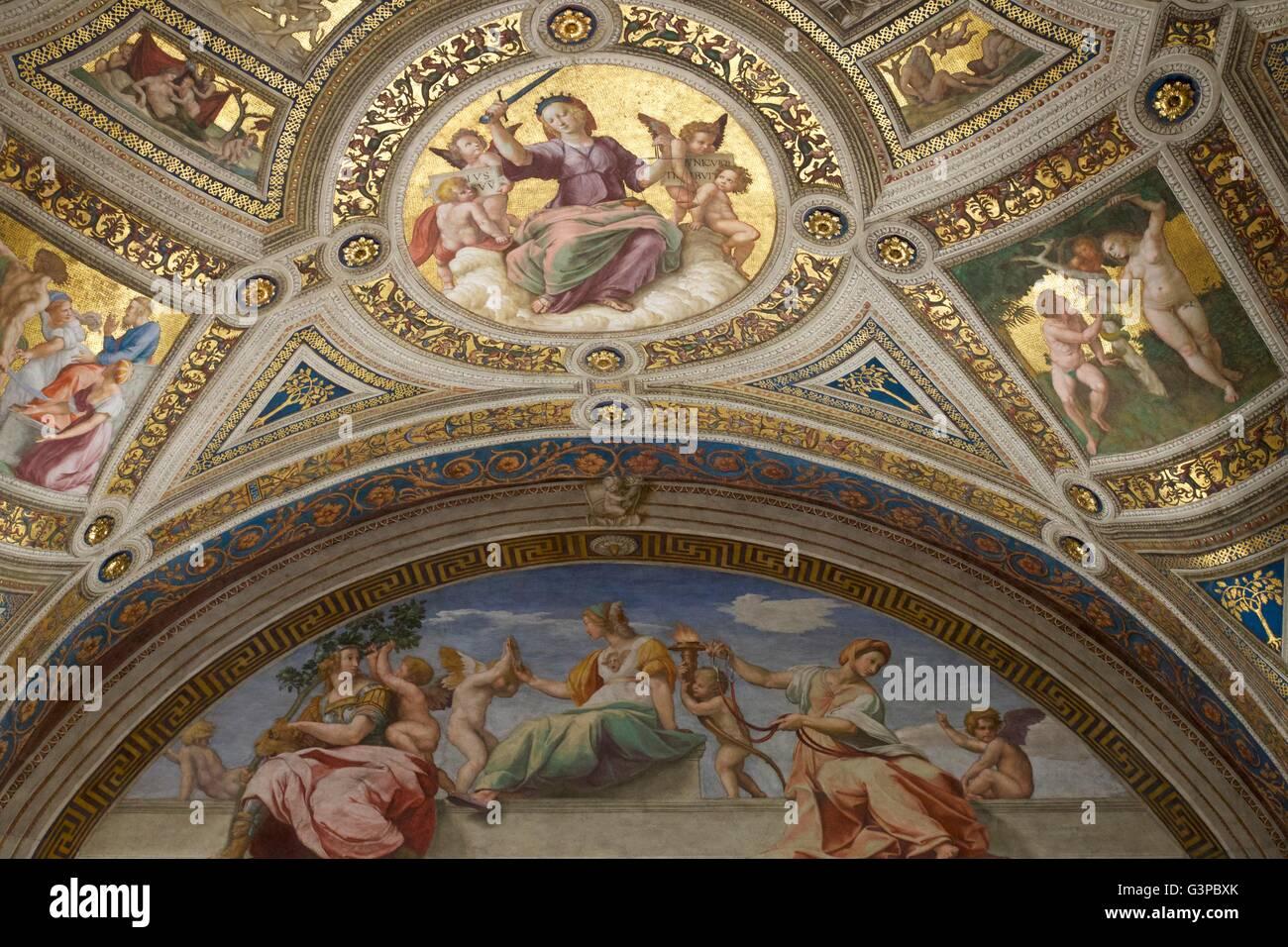 Zimmer die Unterschrift, Stanzen des Raffael, Apostolischen Palast, Vatikanische Museen, Rom, Italien Stockbild