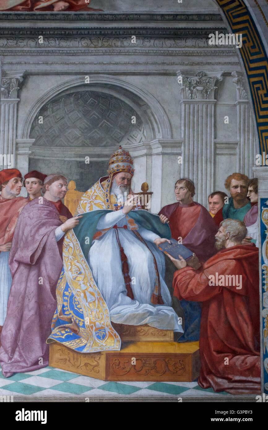 Lieferung der Dekretalen zu Papst Gregor IX., Zimmer Unterschrift, Stanzen des Raffael, Apostolischen Palast, Vatikanische Stockbild