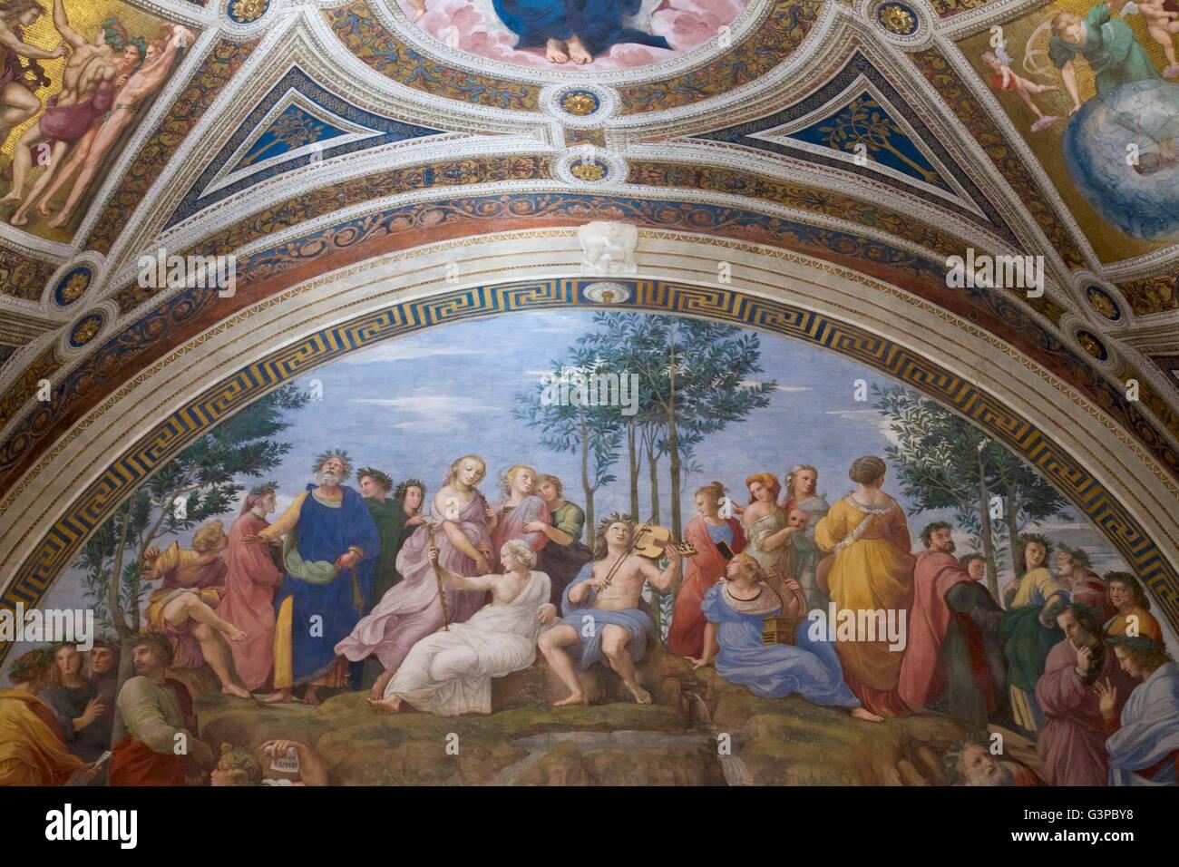 Parnassus. 1509-10, Raum der Unterschrift, Stanzen des Raffael, Apostolischen Palast, Vatikanische Museen, Rom, Stockbild