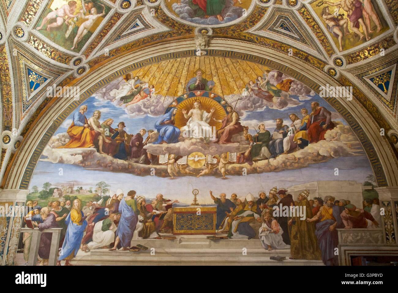 Disputation des Sakraments. 1508-1509, Zimmer die Unterschrift, Stanzen des Raffael, Apostolischen Palast, Vatikanische Stockbild