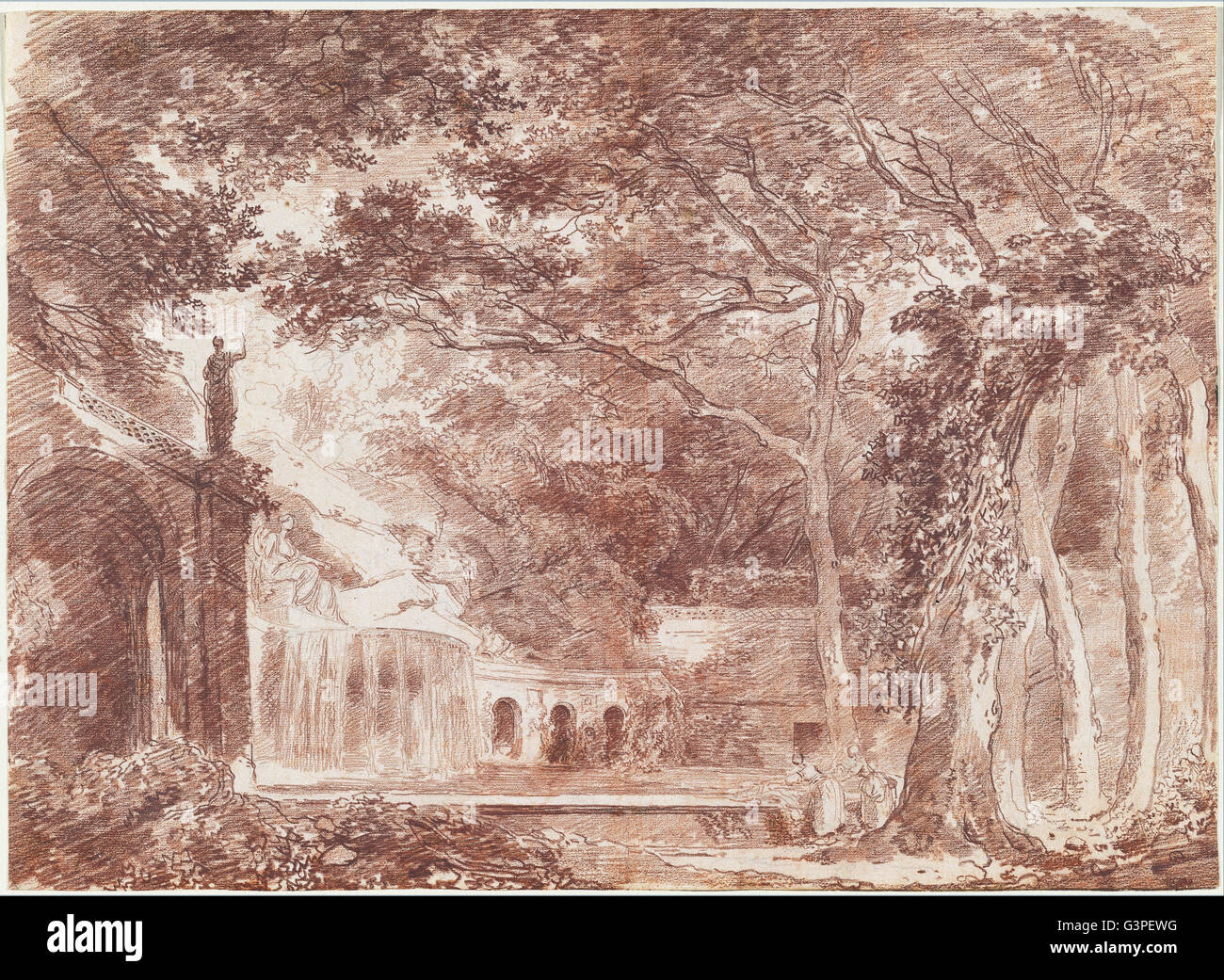 Hubert Robert - der ovalen Brunnen in den Gärten der Villa d ' Este, Tivoli - National Gallery of Art, Stockbild