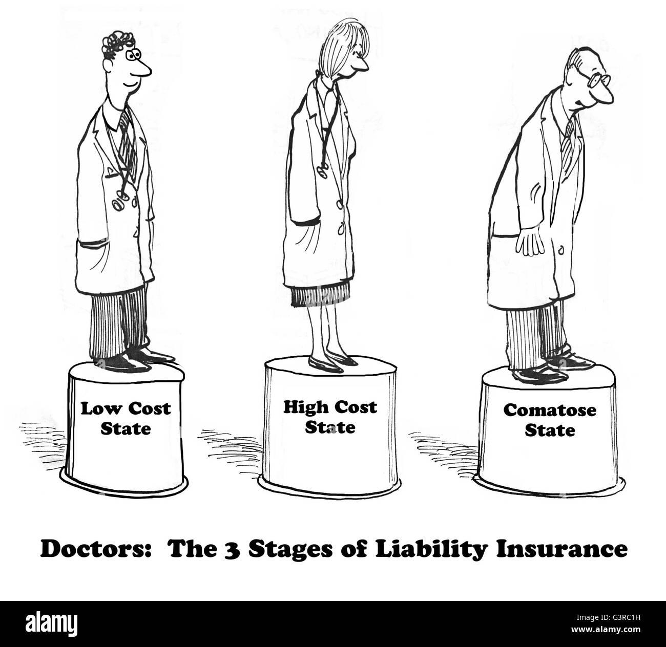 Medizinischen Karikatur Uber Arzt Haftpflicht Versicherung Stockfoto
