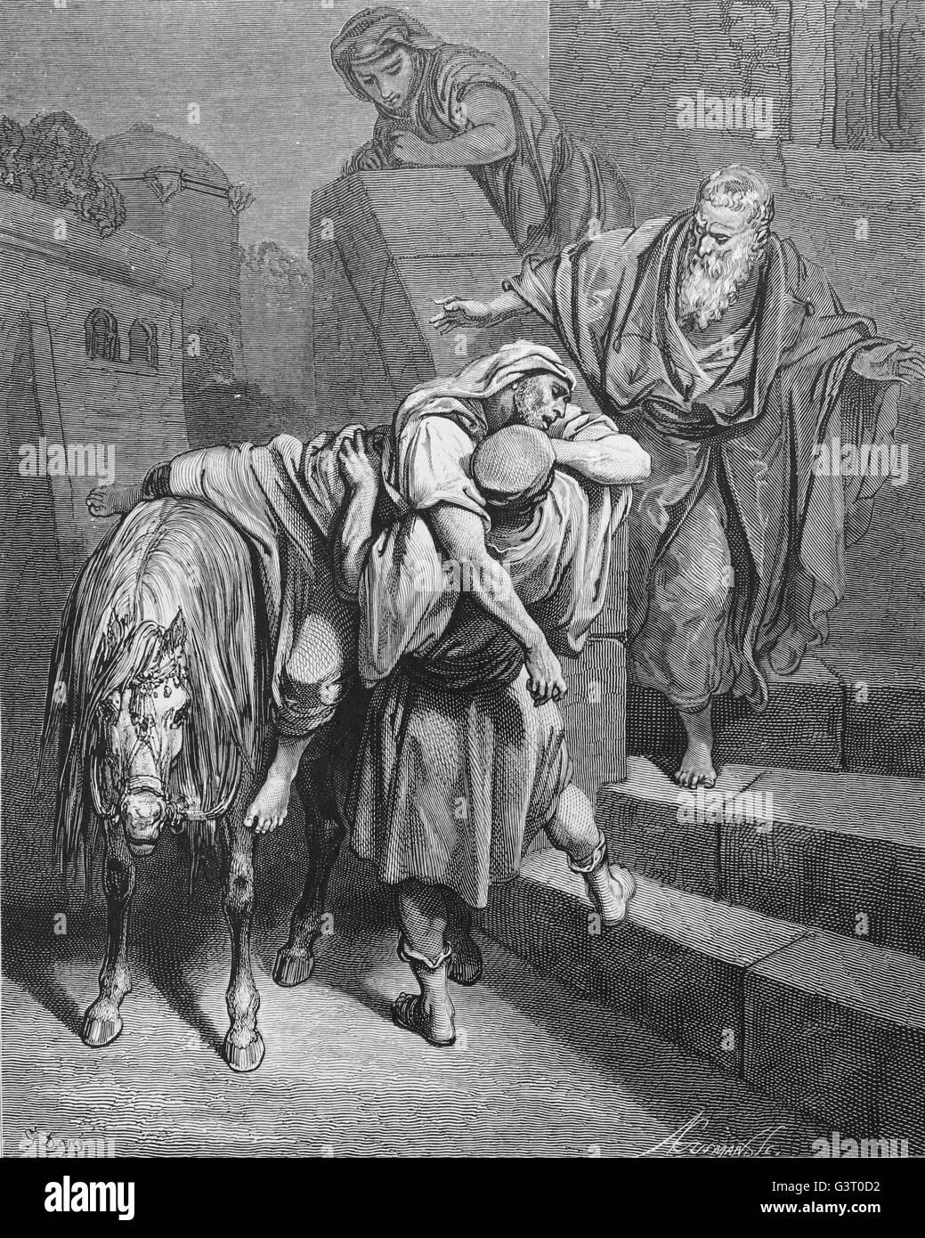 Ankunft vom barmherzigen Samariter im Inn. Lukas 10:34. Stich von Gustave Dore. des 19. Jahrhunderts. Stockbild