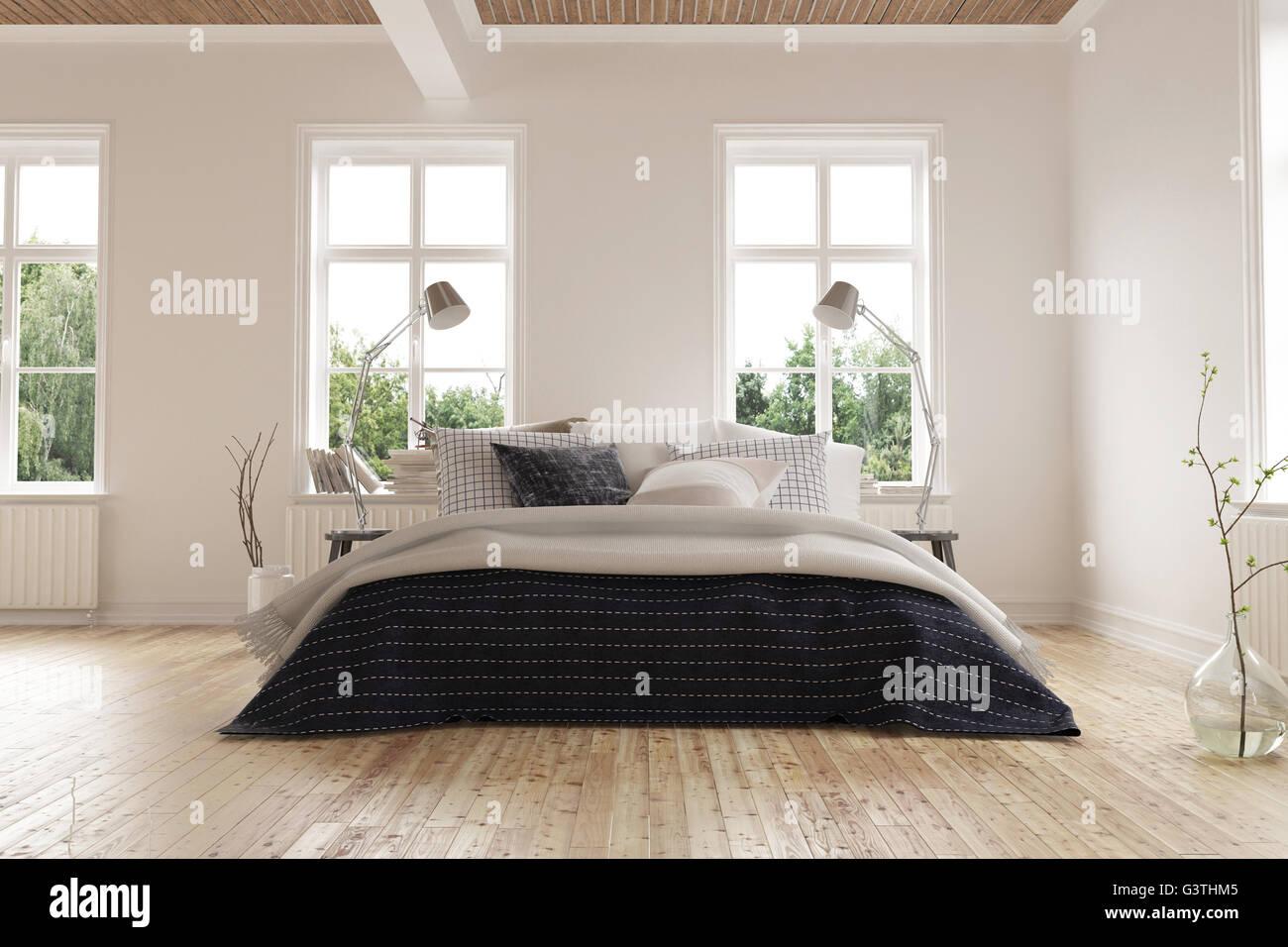 Helle moderne minimalistische Schlafzimmer Innenraum mit Kingsize ...