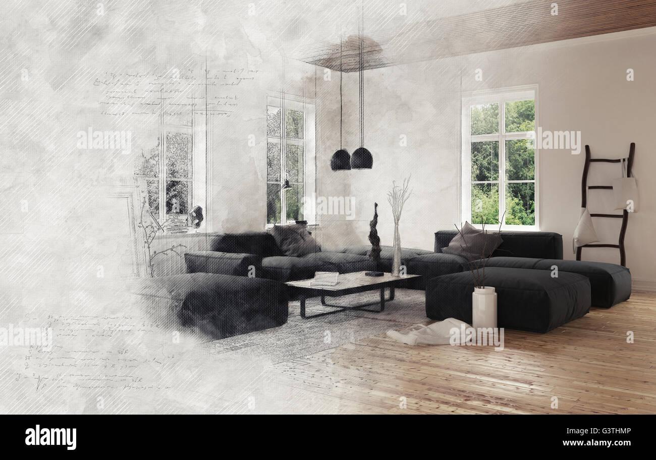 Grauer Rauch Umhullenden Leeren Wohnzimmer Szene Mit Schwarzen