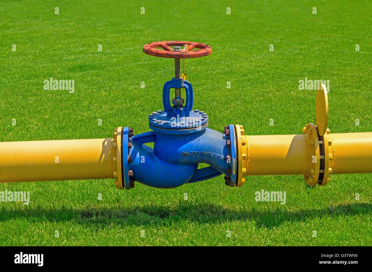 Abschnitt der Pipeline mit einem großen Hahn auf einem Hintergrund von grünem Rasen Stockbild