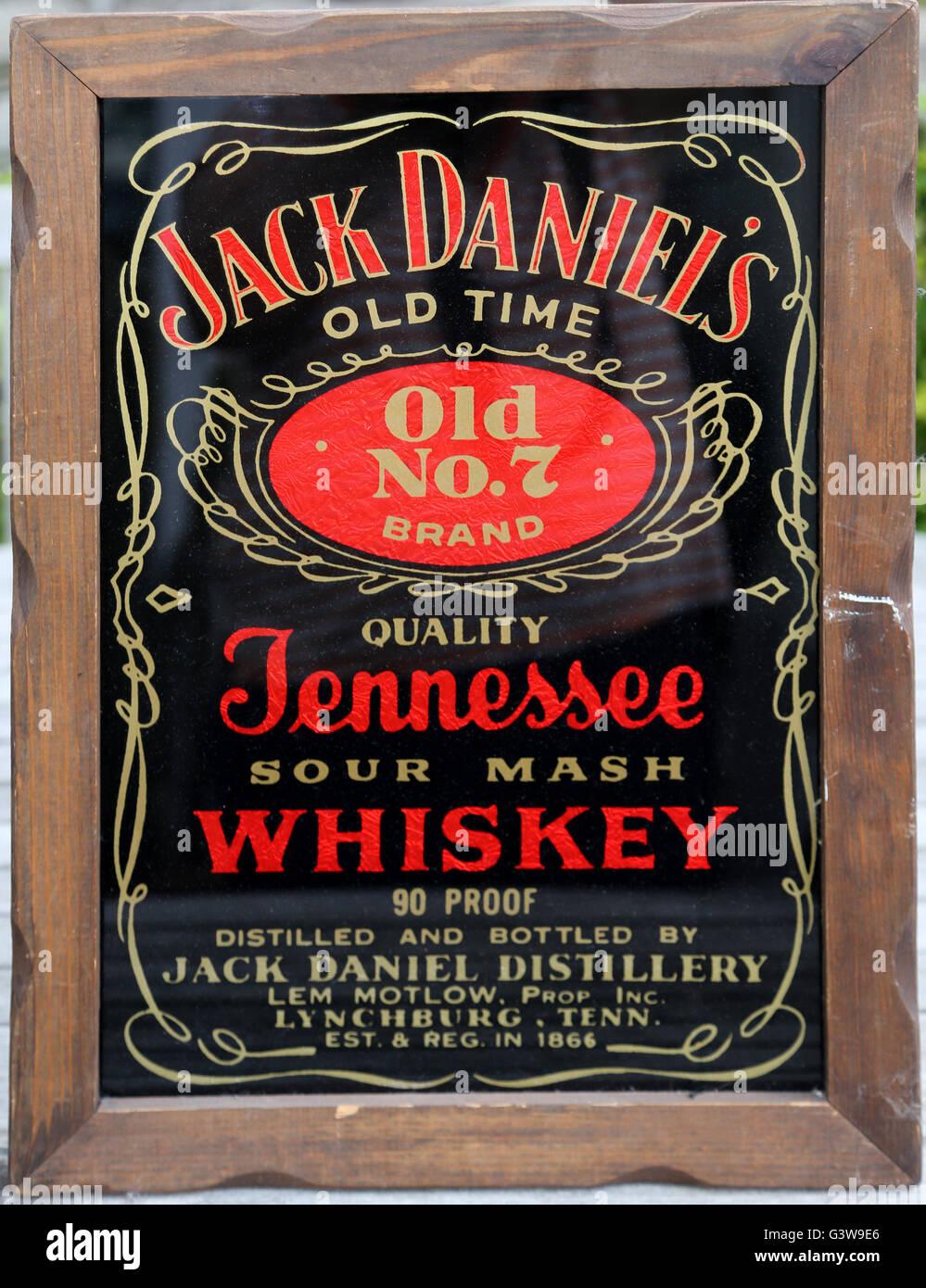 Jack Daniels alten Zeit Nr 2 Marke zu vereiteln, Bild und Rahmen ...