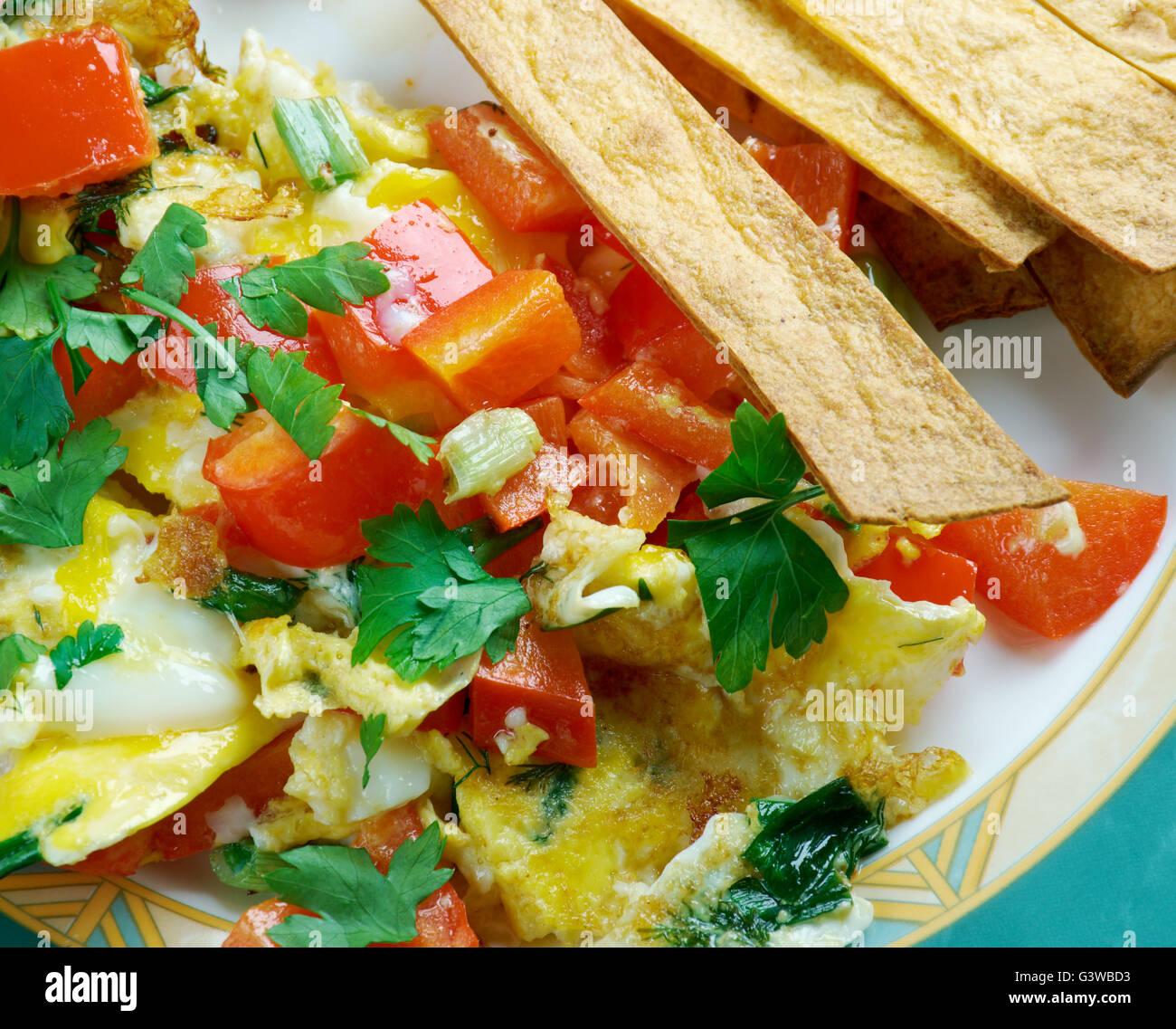 Migas Tex-Mex-Küche - Migas ist ein traditionelles Frühstücksgericht ...