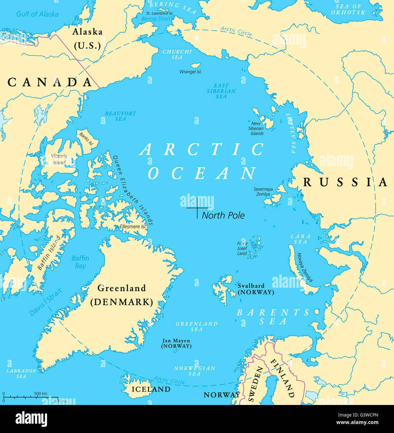 Polarkreis Alaska Karte.Arktischen Ozean Karte Mit Nordpol Und Polarkreis Arktis Karte Mit