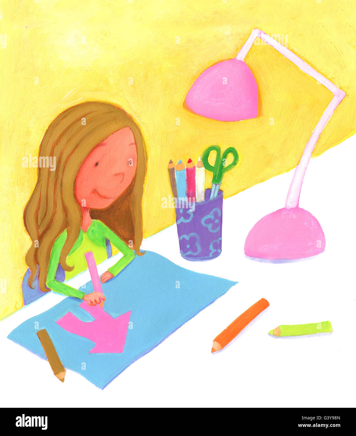 Madchen Sitzen An Ihrem Schreibtisch Zeichnen Mit Bleistift Ein Rosa