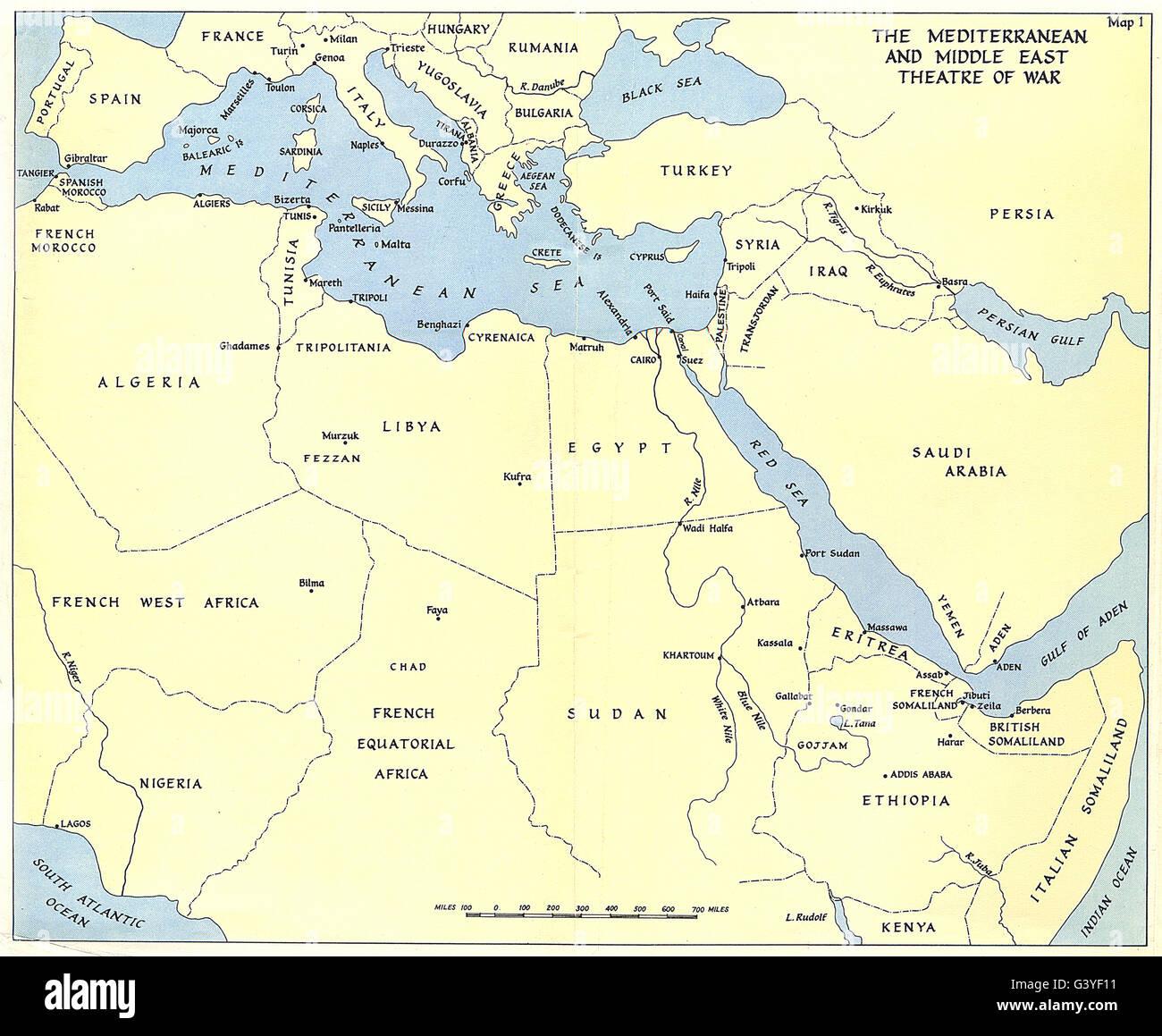 Mittelmeer Karte Europa.Europa Mittelmeerraum Und Naher Osten Kriegsschauplatz Ww2