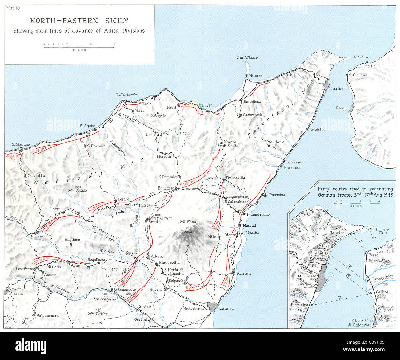 Sizilien Karte ätna.Sizilien Alliierten ätna Juli August 1943 Fähre Routen