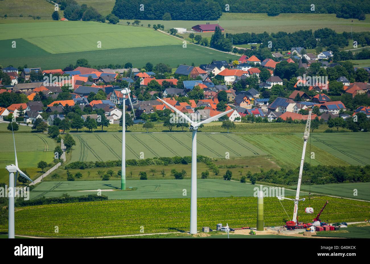 Luftaufnahme, Windkraftanlagen südlich von Effeln, Warstein, Sauerland, Nordrhein-Westfalen, Deutschland, Europa, Stockbild