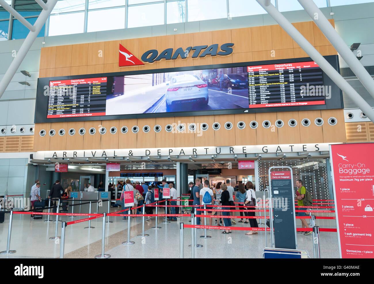 Ankunft & Abflug-Gates auf am Flughafen Sydney Kingsford Smith, Maskottchen, Sydney, New South Wales, Australien Stockbild