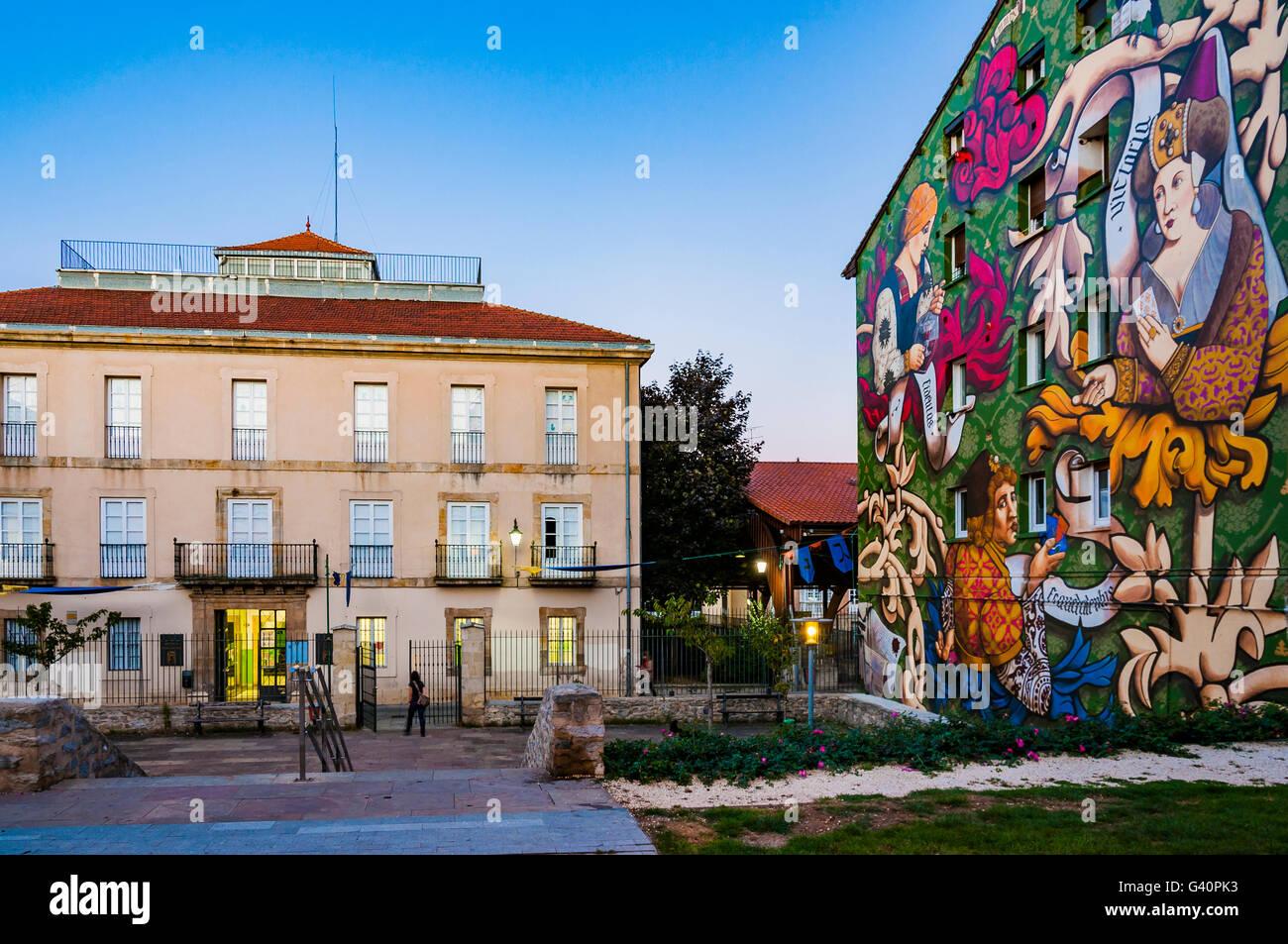 El Triunfo de Vitoria. Wandbild Route von Vitoria, IMVG. Calle Santa María 9. Vitoria-Gasteiz, Álava, Stockbild