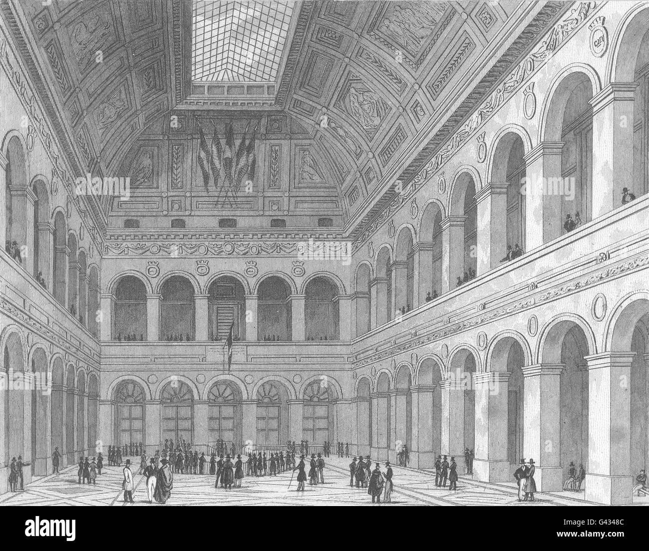 PARIS: Intérieur De La Bourse, antique print 1831 Stockbild