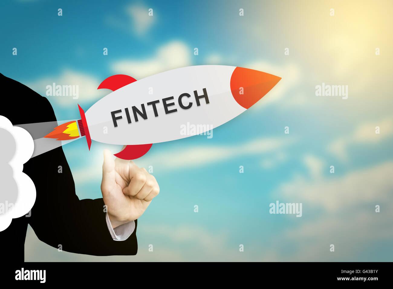 Unternehmen der Hand anklicken Fintech oder Finanztechnologie flache Bauweise Rakete Stockbild