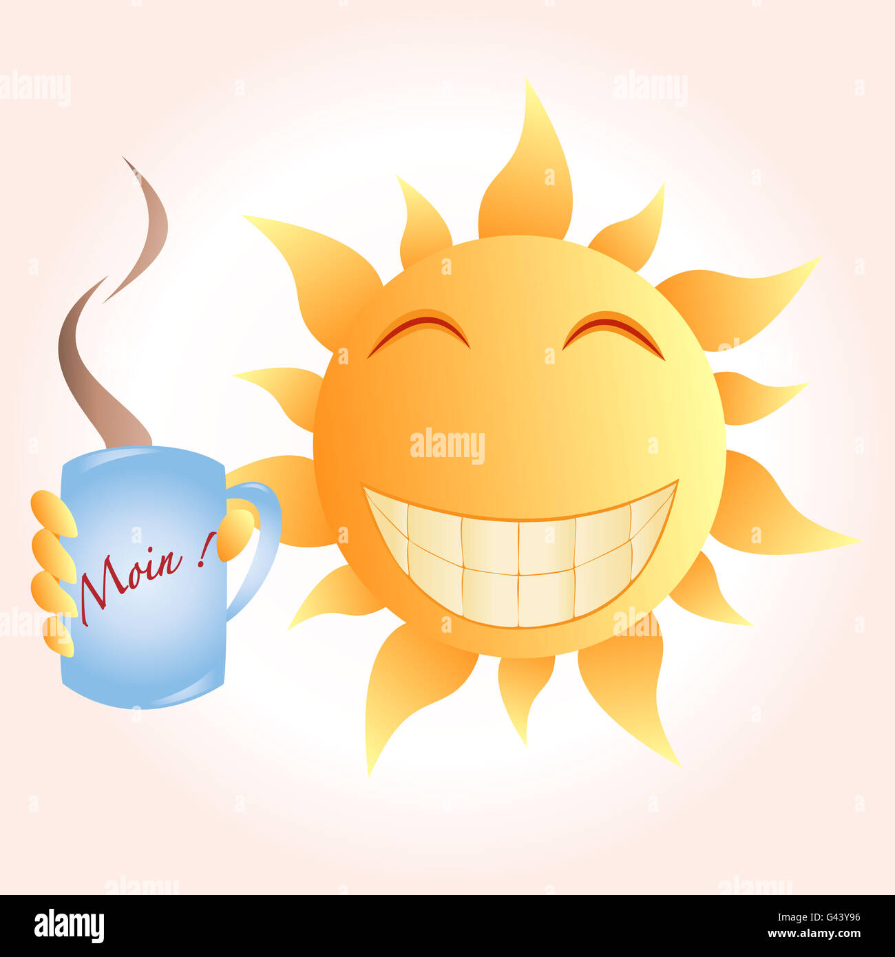 gro grinsend sonne halten kaffeekanne die guten morgen sagt stockfoto bild 105808114 alamy. Black Bedroom Furniture Sets. Home Design Ideas