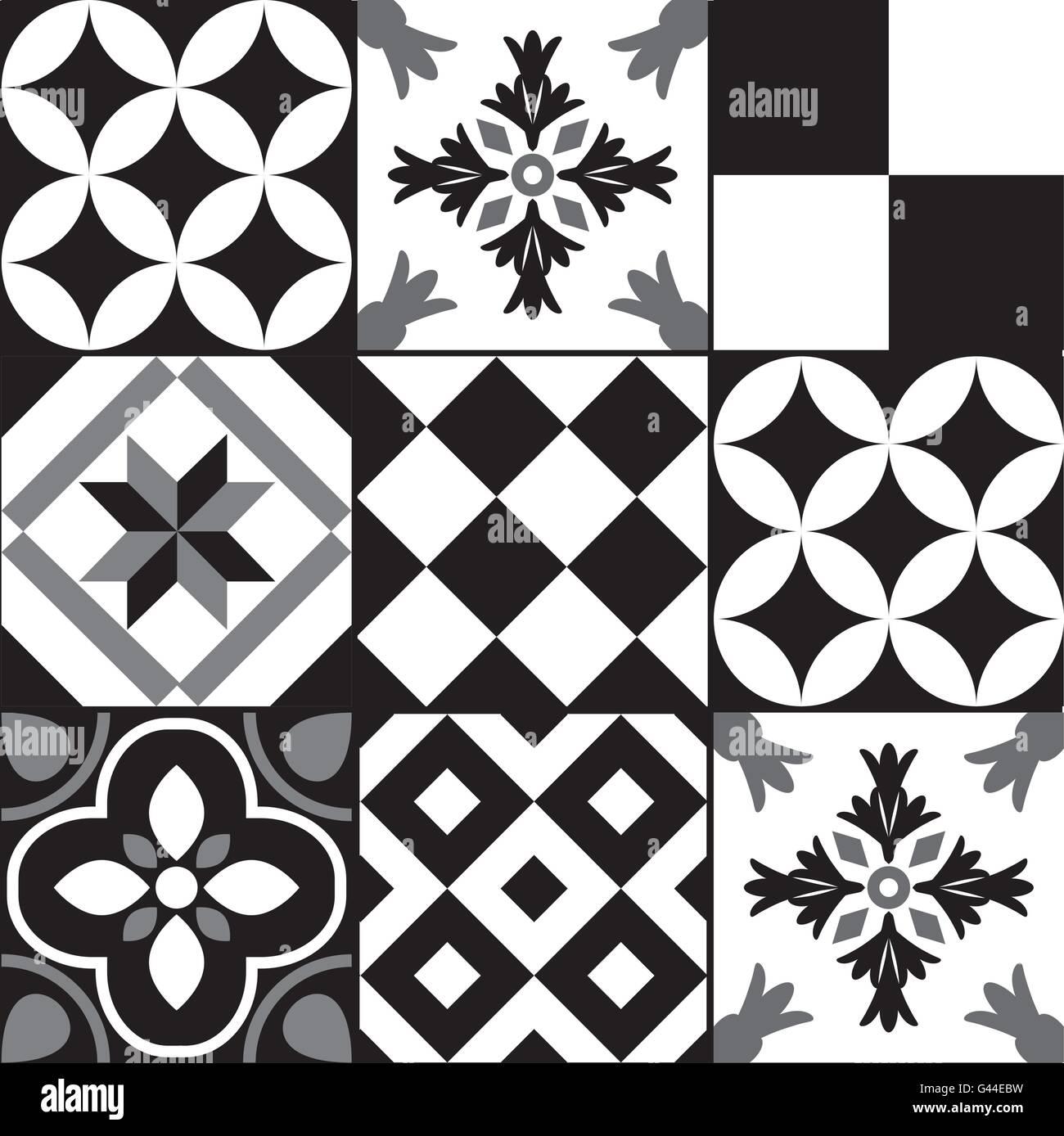 Schwarz Weiß Zement Fliesen Hintergrunddesign Vektor