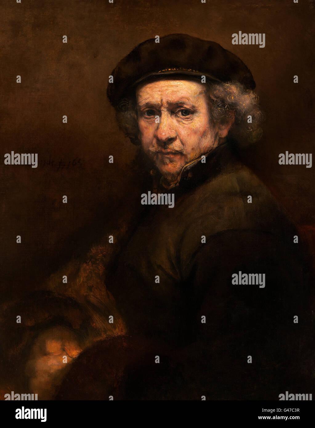 Rembrandt. Self Portrait im Alter von 53 von Rembrandt van Rijn (1606-1669), Öl auf Leinwand, c.1659 Stockbild