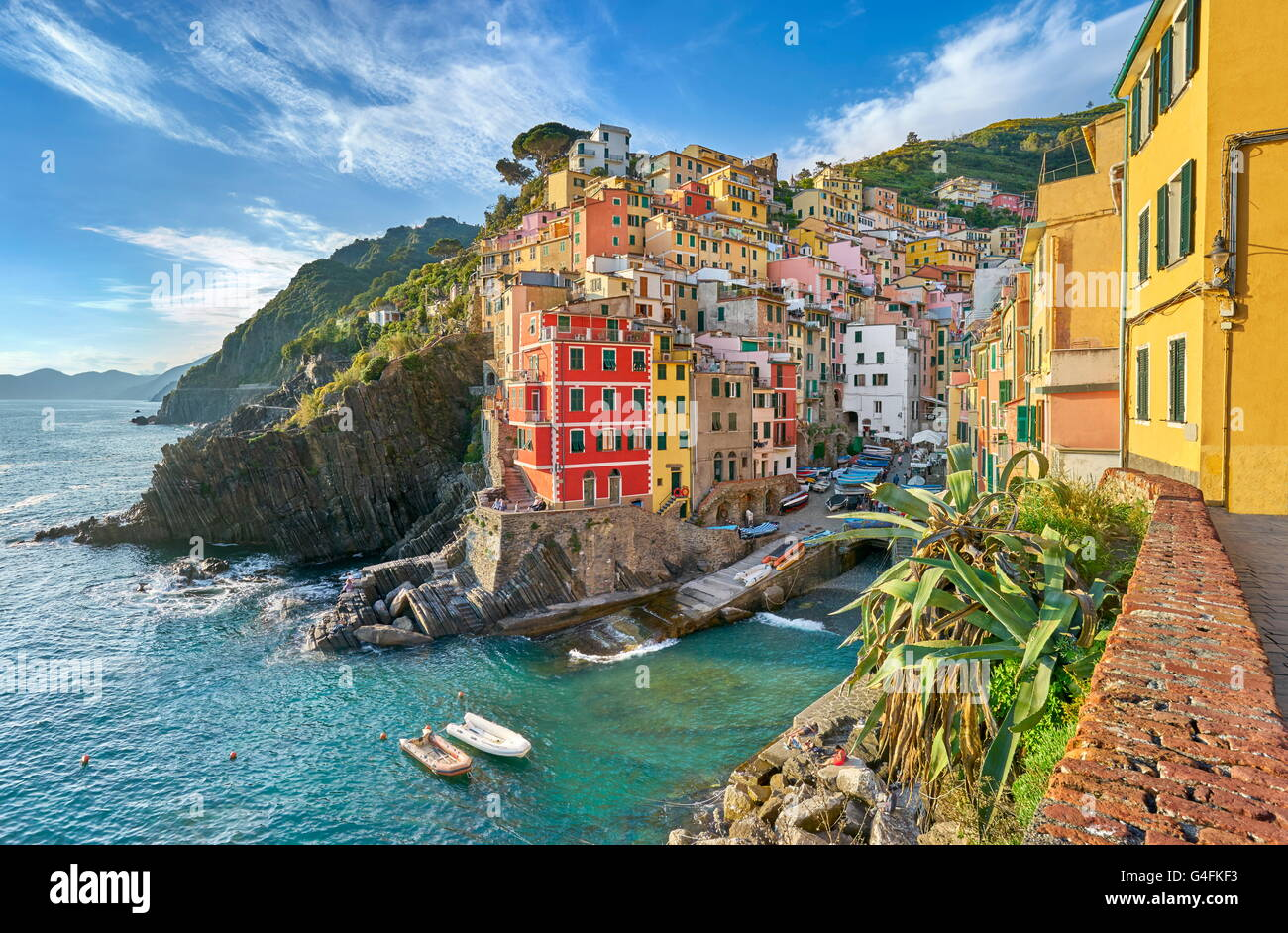 Riomaggiore, Nationalpark Cinque Terre, Ligurien, Italien, UNESCO Stockbild