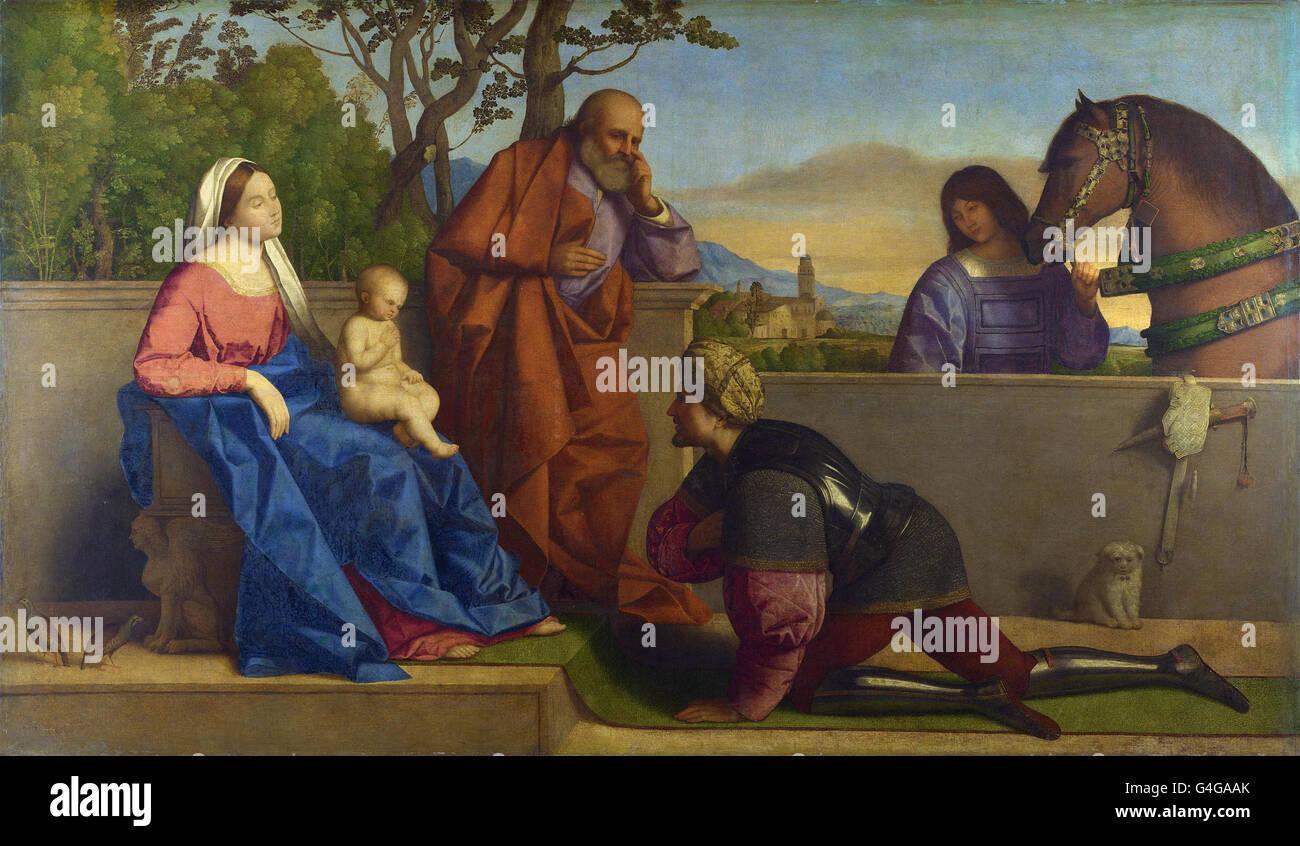 Vincenzo Catena - A Warrior verehren das Kind Christi und der Heiligen Jungfrau Stockbild
