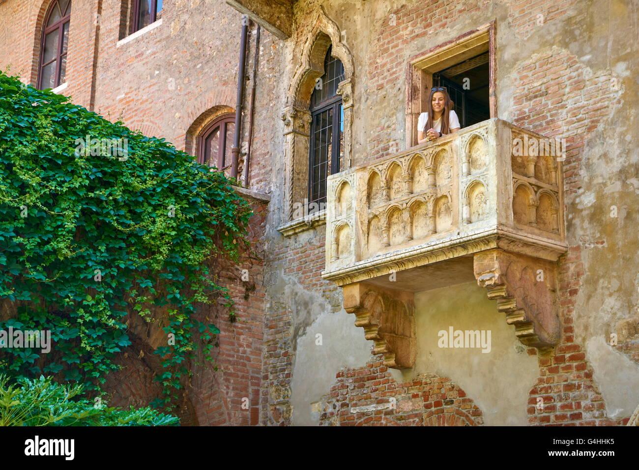 Romeo und Julia Balkon, Altstadt von Verona, Venetien, Italien Stockbild