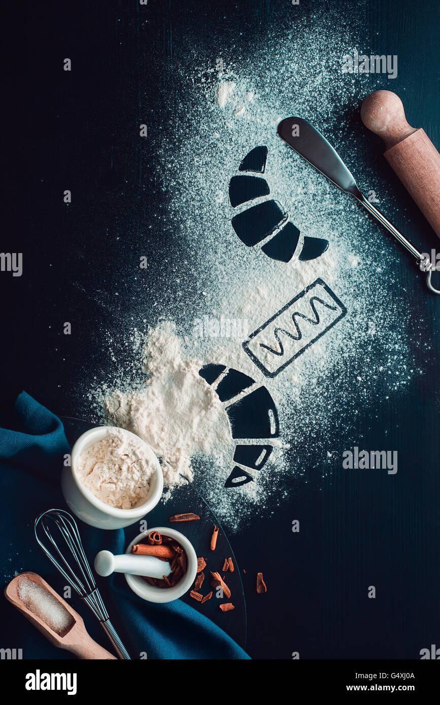 """Backen Rezept: Croissant Serie """"Rezepte und Absichten"""" Stockbild"""