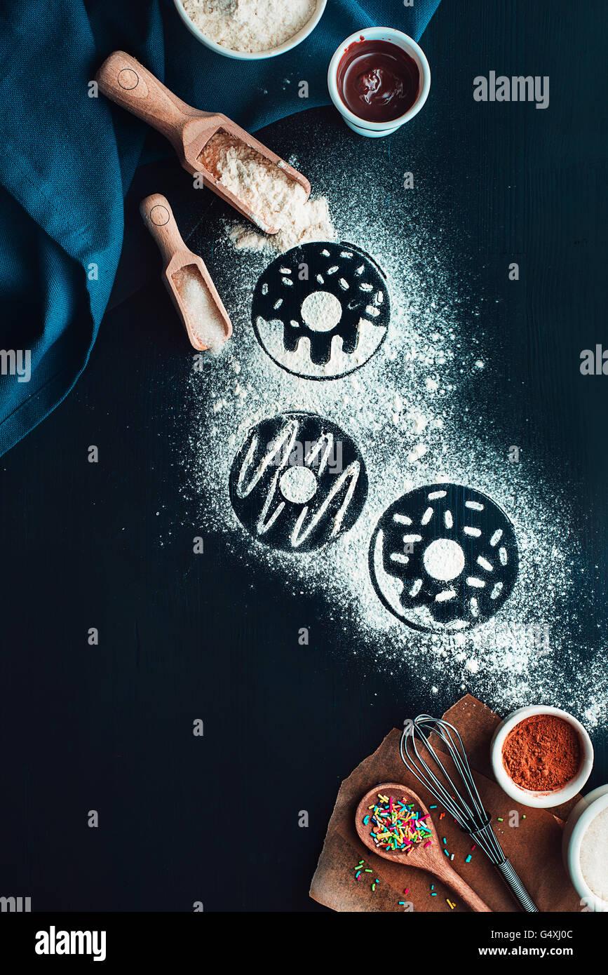 """Backen Rezept: Donuts Serie """"Rezepte und Absichten"""" Stockbild"""