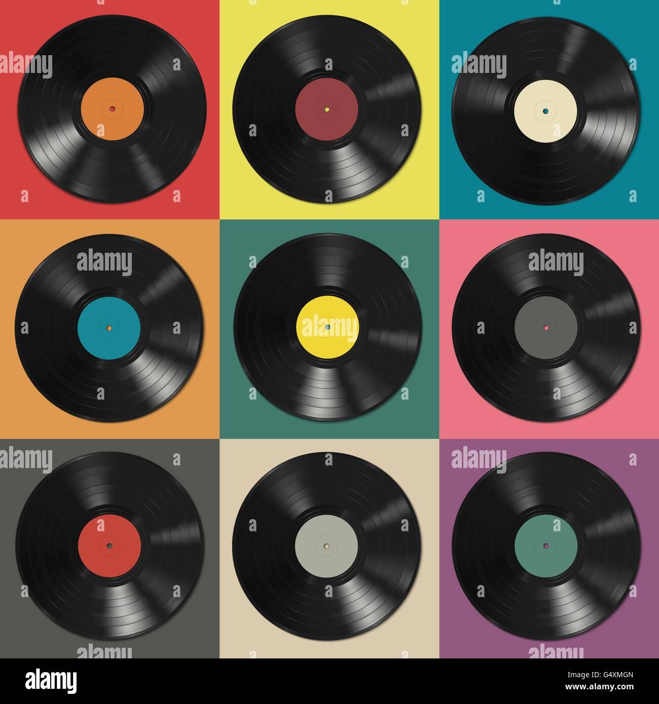 Vinyl Schallplatten Mit Bunten Etiketten Vektor Abbildung
