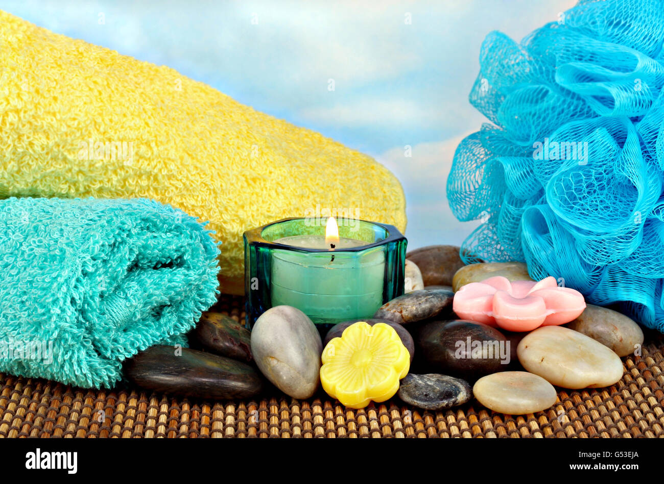 spa stones nobody stockfotos spa stones nobody bilder alamy. Black Bedroom Furniture Sets. Home Design Ideas