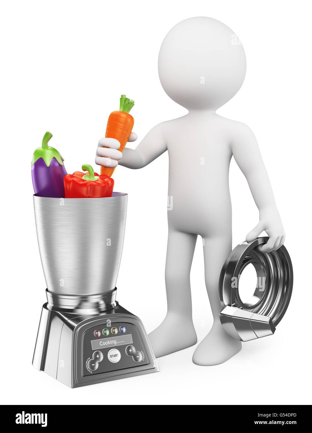3d-weiße Menschen. der mensch Kochen gesund in einer Küchenmaschine ...