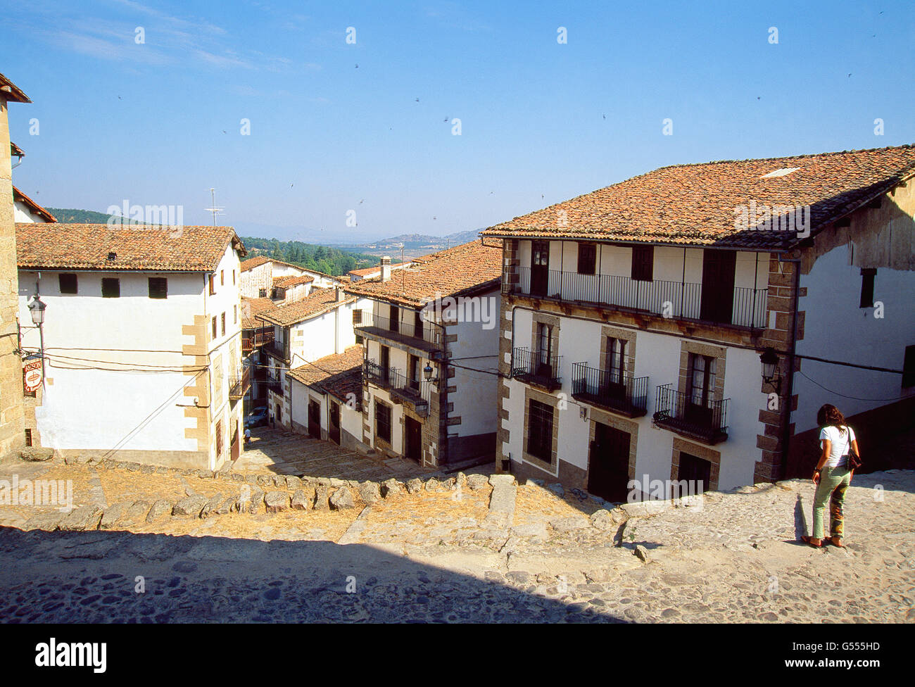 Straße. Candelario, Salamanca Provinz Kastilien-Leon, Spanien. Stockbild