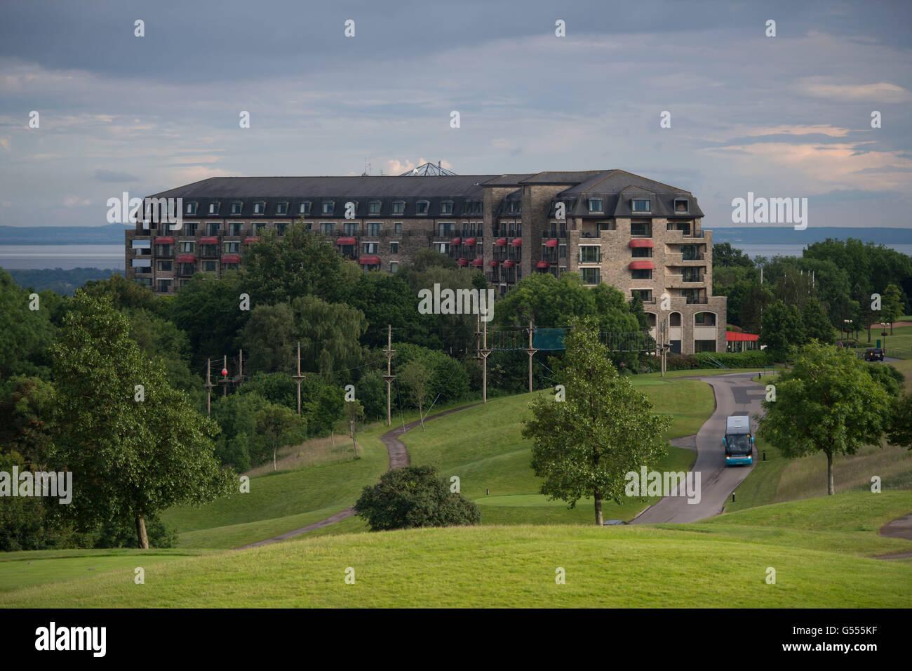Einen Überblick über das Celtic Manor Hotel in Newport, South Wales. Stockbild