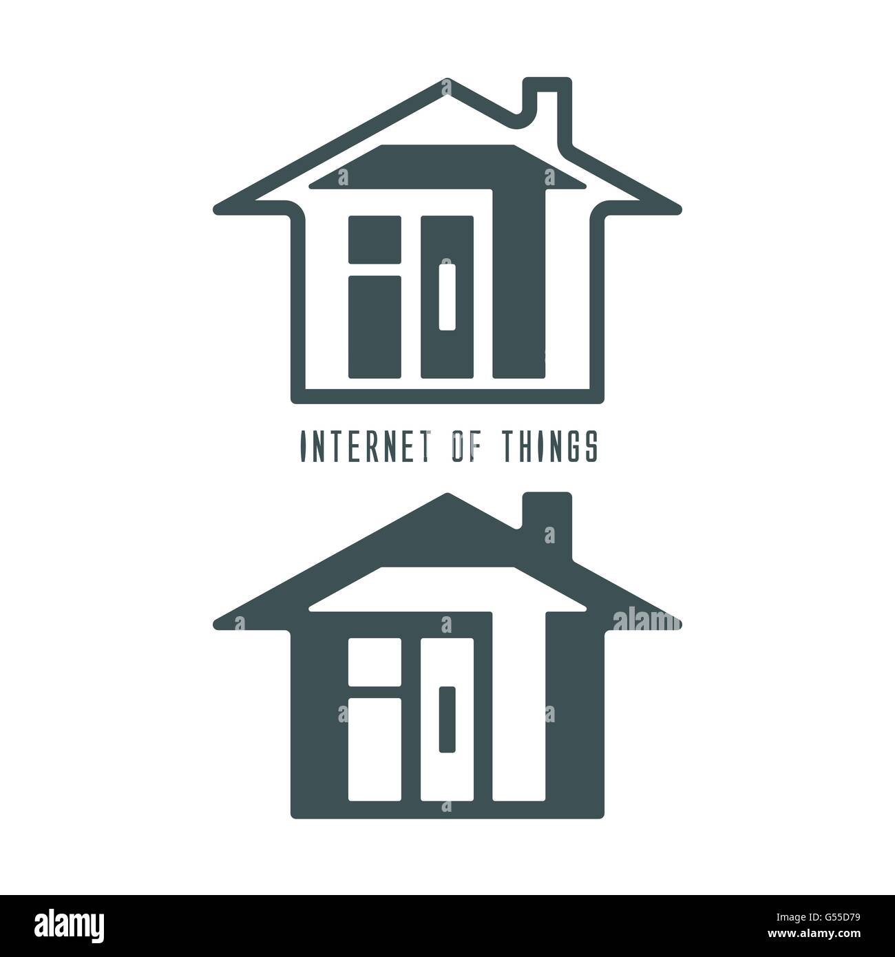 IOT Brief oder Internet der Dinge im Haus Symbol moderner ...
