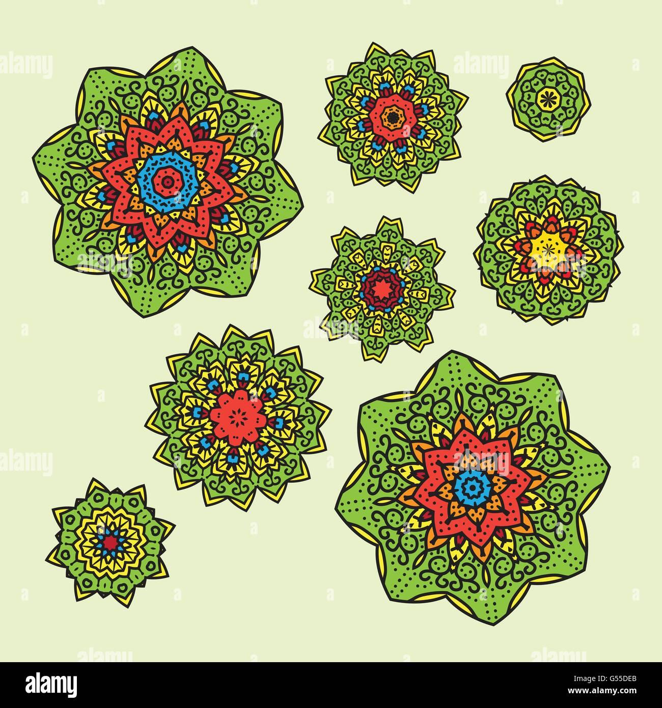 Malvorlagen Mandalas Muster Vektor setzen Design-Darstellung Vektor ...