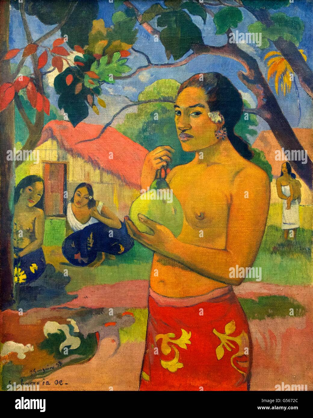 Frau hält eine Frucht, wohin du gehst?, Eu Haere ia Oe, von Paul Gauguin, 1893, Staatliche Eremitage, St. Petersburg, Stockbild