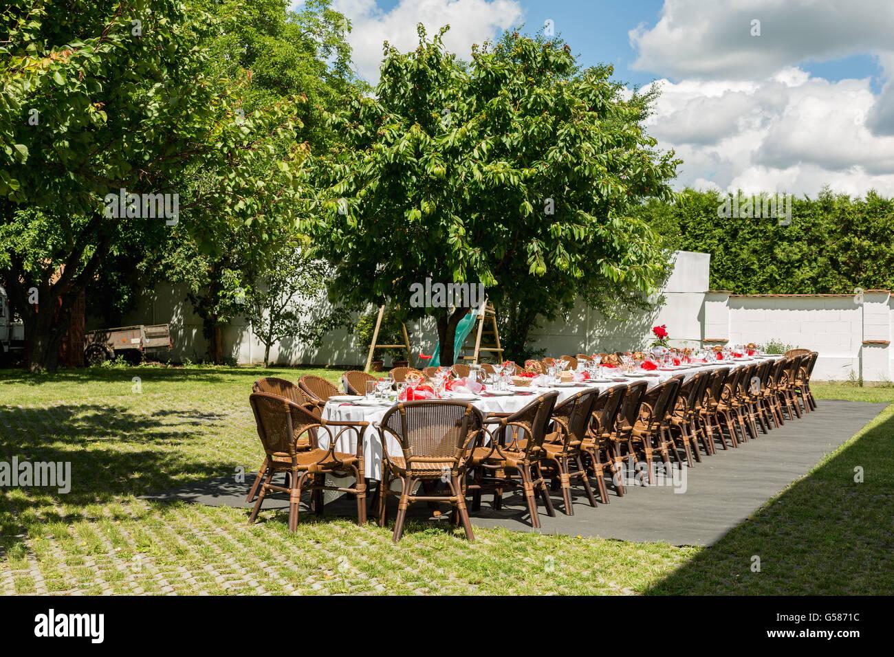 Verschiedene Dekoration Gartenparty Sammlung Von Für Mittag-abendessen Mit Langen Tisch, Dekoriert Mit