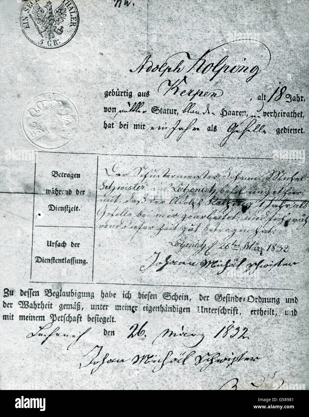 4 Bin Juli 1833 Starb Mutter Von Adolph Kolping Heißt Er Später In