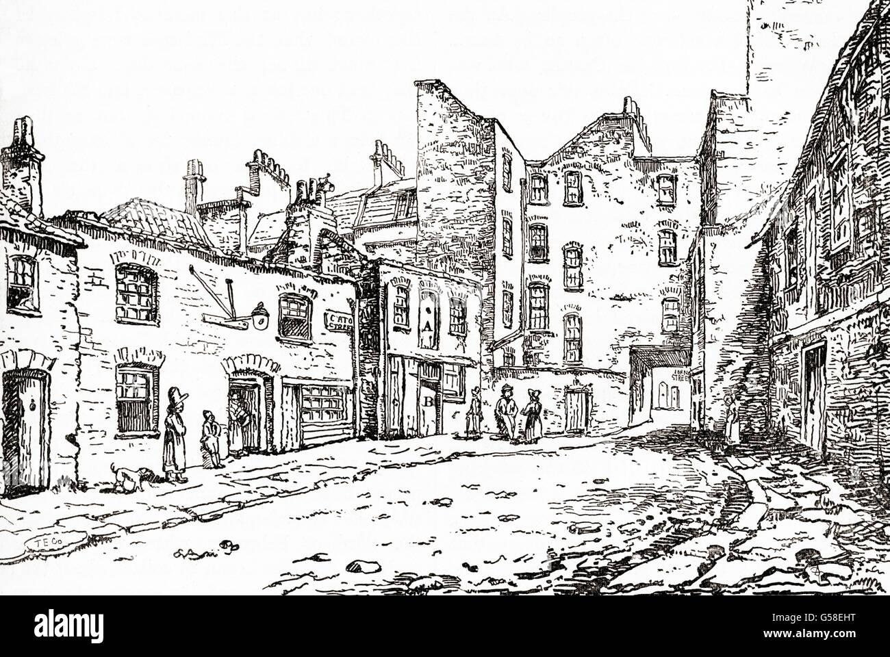 Blick auf Cato Street, London, England im 19. Jahrhundert zeigt den Stall, in dem die Verschwörer erfasst wurden. Stockbild