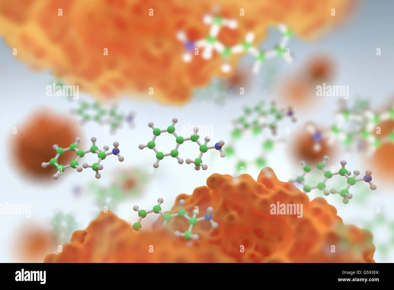 Amphetamin (in grün), ist eine synthetische Droge, ein potenter ...