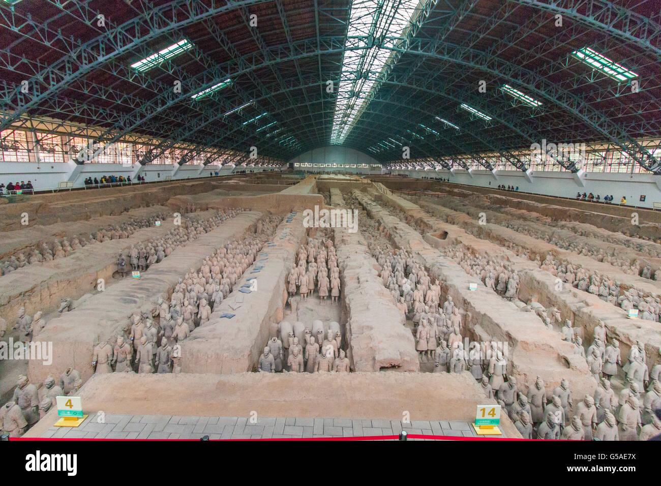 Allgemeine Ansicht Panorama von der Terrakotta Armee des Kaisers Qin Shi Huang, Lintong Bezirk Xi ' an, Provinz Stockbild