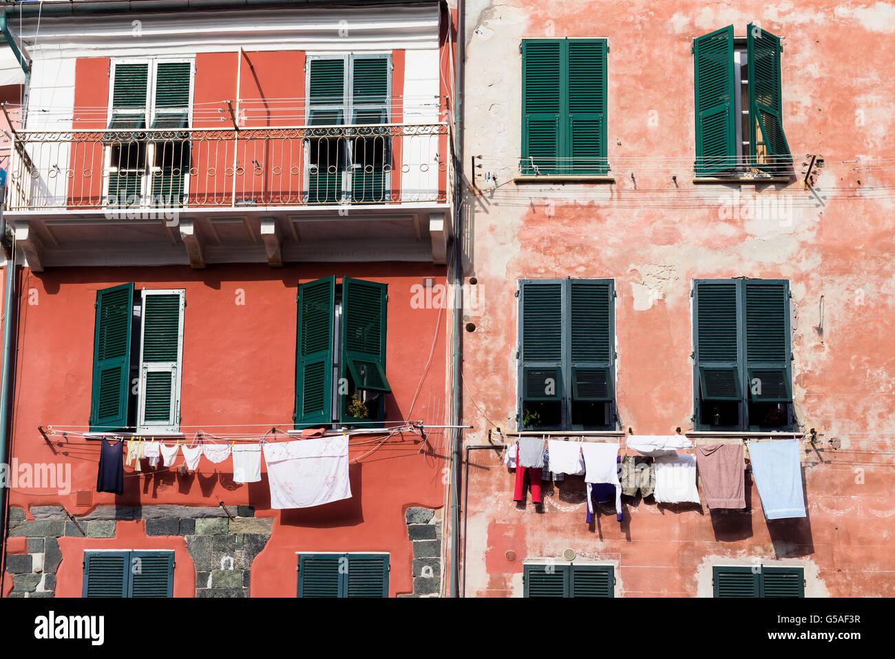 Vernazza ist eine Stadt in der Provinz von La Spezia, Ligurien, Italien. Es ist eines der fünf Dörfer, aus denen Stockfoto