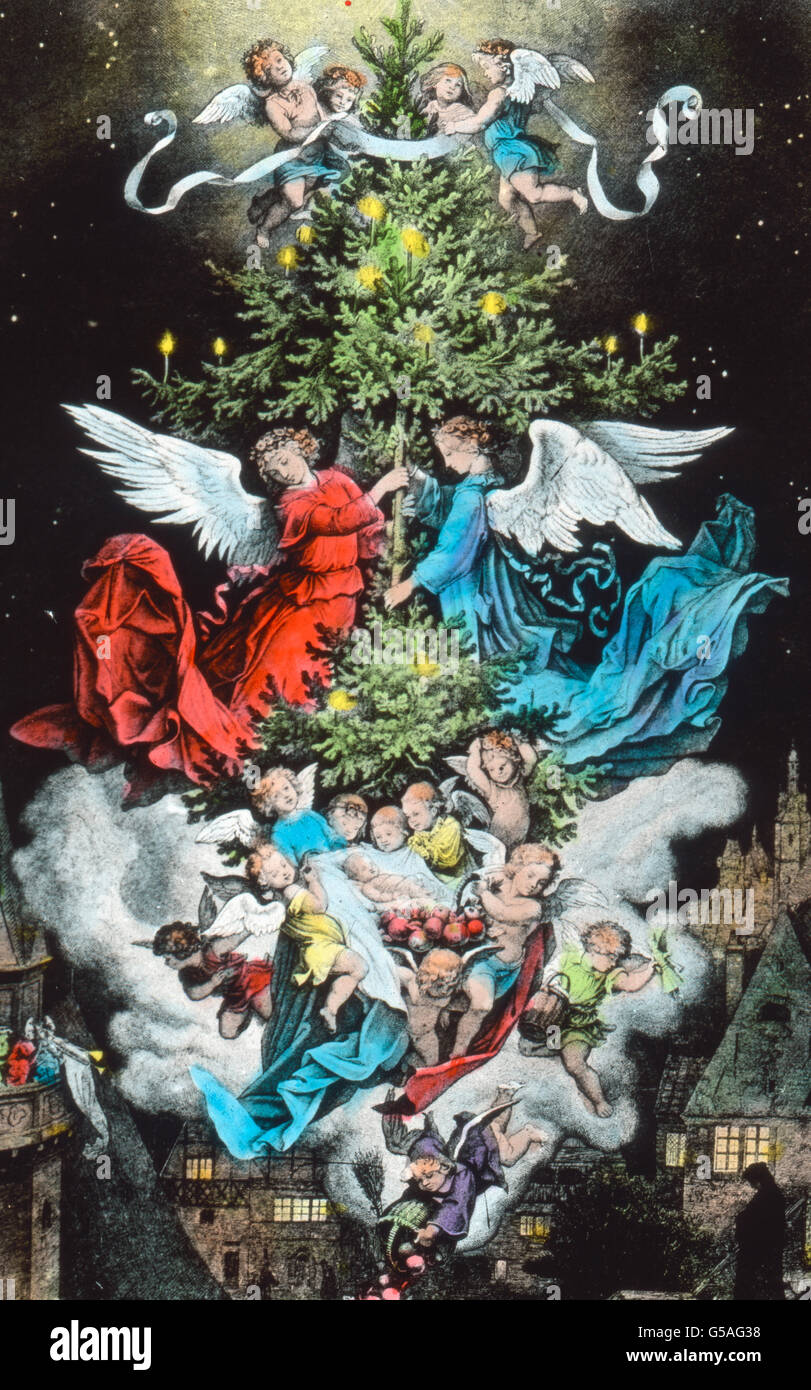 Geschichte Vom Weihnachtsbaum.Engel Schmücken Den Weihnachtsbaum Illustration Nach Richter