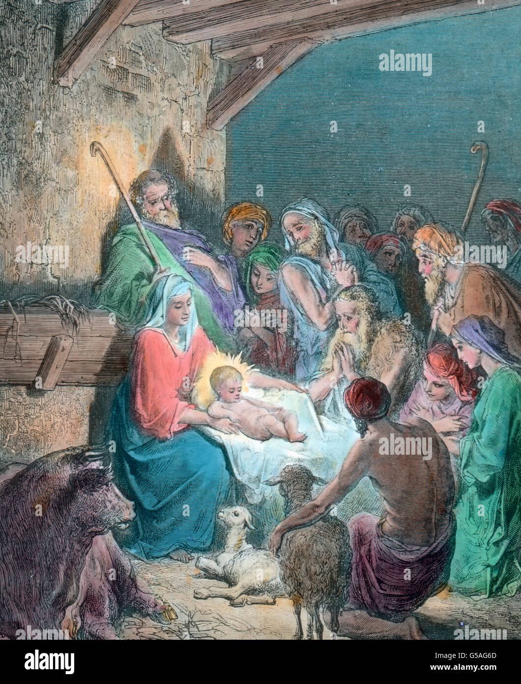 Christi Geburt Im Stall von Bethlehem. Weihnachten, 19. Jahrhundert ...